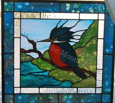 """Kingfisher"" stained glass panel - Maid on the Moon Studio"