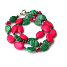 Long Chunky Colorful Handmade Necklace Emerald by ALFAdesigns