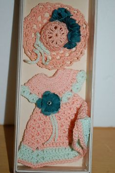 Vintage Crochet Dress and Hat Magnets by PatchHappyPauper on Etsy, $4.00