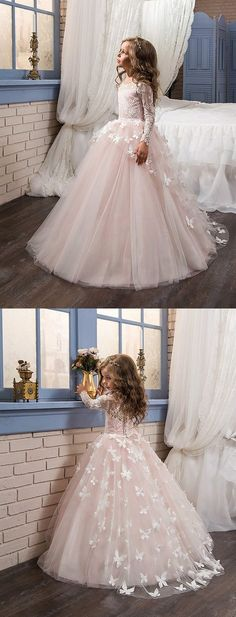 Elegant Scoop Neck Long Sleeve Lace Appliques A Line Flower Girl Dresses - Elegant Scoop Neck Long Sleeve Lace Appliques A Line Flower Girl Dresses Source by normoop - Wedding Dresses For Kids, Inexpensive Wedding Dresses, Affordable Bridesmaid Dresses, Sexy Wedding Dresses, Wedding Attire, Wedding Ideas, Pageant Dresses, Girls Dresses, Party Dresses