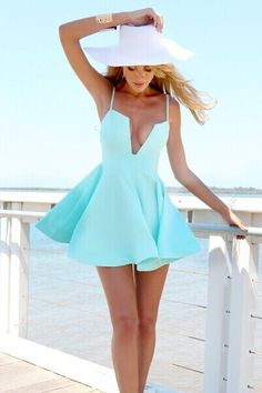 Cheap Sexy V Neck Spaghetti Strap Sleeveless Blue A Line Mini Dress on Luulla