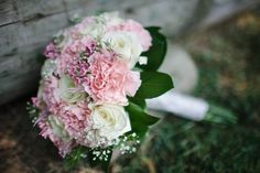 Pink Carnation and Baby's Breath Bridal Bouquet