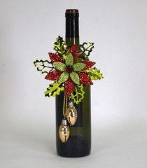 "Katherine's Collection Old World Christmas  Set Twelve Assort 6"" Poinsettia Bottle Topper Ornament Free Ship"