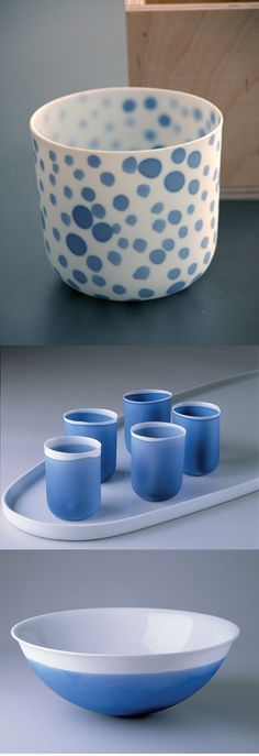 Studio Pieter Stockmans // I like the combination of matte and glossy glazes on the bowl and cups.