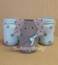 Original Design Set of 3 Cute Elephant Blue/ Grey Mason Jar