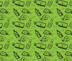 Poison Bottles in Green fabric by lovelymsleveck on Spoonflower - custom fabric