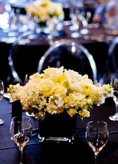 Short, White Centerpieces // Photo: Studio563 // Design: Liv by Design