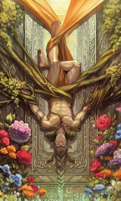 "The Hanged Man for ""the Major Arcana"" by Noa Ikeda Freelance Concept Artist Hanged Man Tarot, The Hanged Man, Tarot Decks, Illustration Art, Illustrations, Major Arcana, Gay Art, Tarot Cards, Divination Cards"
