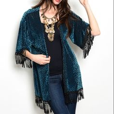 Teal & Black Crochet/Tassel Trim Kimono Kimono features teal vellore-like splotches on semi-sheer black fabric, and black decorative crochet/tassel trim. Fits true to size to slightly small. Color is bright teal green and black. Brand new. Made in U.S.A.. No trades, no holding, no offsite payment.   *~*PRICE IS FIRM UNLESS BUNDLED*~* Jackets & Coats