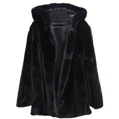 Hooked Md-long Black Faux Fur Coat With Hood (350 PLN) ❤ liked on Polyvore featuring outerwear, coats, jackets, coats & jackets, faux fur coat, fake fur coats, hooded coat, long coat and long hooded coat