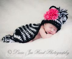 Crochet Zebra Hat and Cape Set  Newborn Photo Prop by JemsBoutique, $32.99