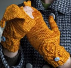 """Snapdragon Mitts Kit - priced from $22.00 to $42.00. """"These versatile mittens provide a wonderful flip top to let your fingers out so you can grab your keys really quick. The cable and leaf pattern are simply gorgeous and adorn the back of the hand and shaping for the thumb."""""""