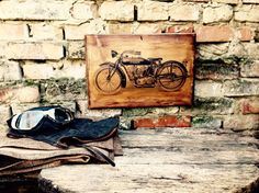 Vintage Indian Motorcycle Home Decor Wooden Picture Wall Decor Garage Art Wooden Artwork