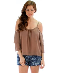 b94b3990ef028e Cute open shoulder blouse with bell sleeves. Available in Khaki.Available  Sizes  M