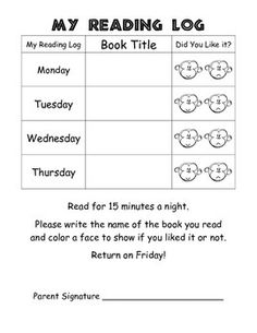 Weekly Reading Log. Get it for FREE in my store! I attach it to their weekly homework packet and it is due on Fridays. This way I know what they are reading at home, and they are accountable for their reading at home. And, of course, it's jungle-themed!