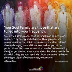 Your Soul Family Are Those That Are Tuned Into Your Frequency - Your Soul Family Are Those That Are Tuned Into Your Frequency – themindsjournal. Spiritual Enlightenment, Spiritual Wisdom, Spiritual Growth, Spiritual Awakening, Adonai Elohim, Soul Family, Awakening Quotes, Soul Connection, Spirit Science