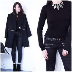 Lydia Marceau - Boohoo Coat, Topshop Jeans, Sacha Boots - Black is my Happy Color