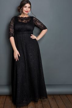 Buy this plus size evening gown to look great at any special occasion. The Leona Lace Gown features length sleeves, an A-line silhouette and pockets! Evening Gowns With Sleeves, Plus Size Evening Gown, Formal Dresses With Sleeves, Plus Size Formal Dresses, Bridesmaid Dresses Plus Size, Plus Size Prom, Plus Size Gowns, Wedding Dress Sleeves, Plus Size Outfits