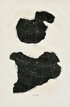 1869 Set of Two German Antique Prints of Constellations. Ursa Major, Perseus, Triangle, Charioteer, Bootes