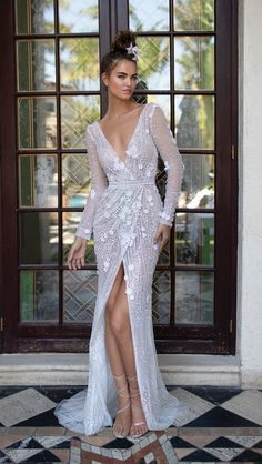 "Berta Spring 2019 Wedding Dresses — ""Miami"" Bridal Collection berta spring 2019 bridal long sleeves deep v neck full embellishment slit skirt glamorous sexy romantic sheath wedding dress scoop back sweep train mv — Berta Spring 2019 Wedding Dresses Wedding Dress Tea Length, After Wedding Dress, Slit Wedding Dress, White Bridal Dresses, Wedding Dresses For Girls, Gorgeous Wedding Dress, Girls Dresses, Backless Wedding, Dresses Dresses"