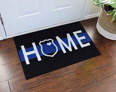 Police Home Welcome Door Mat Thin Blue Line FloorMatShop