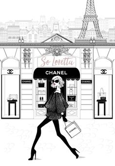 Two of two Chanel store front print. I call this piece A Chanel girl in Paris. Inspired by the Chanel 31 rue cambon store in Paris! As much fun as it Art Chanel, Chanel Paris, Coco Chanel, Chanel Runway, Chanel Lamp, Illustration Megan Hess, Illustration Mode, Moda Paris, Fashion Wall Art