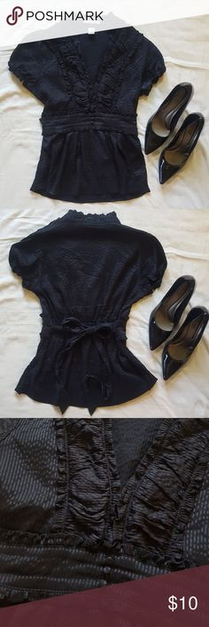 WEEKEND SALE Charlotte Russe Black Ruffled Top Great for the office or a night out. Black w/ black pinstripes. Ties in back. Great used condition! Charlotte Russe Tops