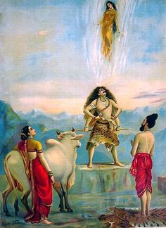 Ganga Avataran or Descent of Ganga (c.1910) by Raja Ravi Varma