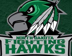 The University of North Dakota Fighting Hawks logo designed by a University of North Dakota student. Ice Hockey Rink, Hockey Teams, Football Usa, College Football, History Of Hockey, Native American Drawing, North Dakota Fighting Hawks, Hawk Logo, Fighting Sioux