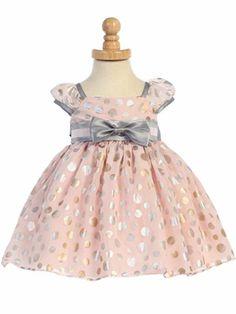 Pink Tencel Polka Dot Puff Sleeve Dress