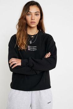 Champion UO Exclusive Triple Script Logo Black Crew Neck Sweatshirt | Urban Outfitters UK Pullover, Crew Neck Sweatshirt, Logan, Champion Clothing, Urban Outfitters Women, Script Logo, Fitness Models, Bomber Jacket, Clothes For Women