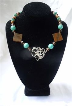 FUNKY WIRE NECKLACE SET WITH TURQUOISE AND TIGERS EYE