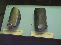 Mary Rose archery bracers; ivory on the left and leather on the right.