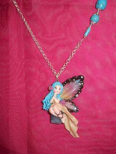 Collana fata fimo doll handmade idea regalo fairy di CREASOUVENIR
