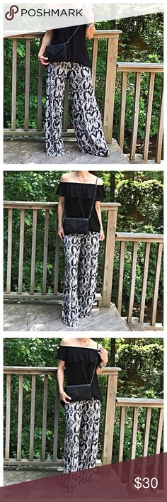 🆕 wide leg pants Pull on wide leg pretty print pants PLEASE Use the Poshmark new option you can purchase and it will give you the option to pick the size you want ( all sizes are available) BUNDLE and save 10% ( no trades price is firm unless bundled) Pants Wide Leg