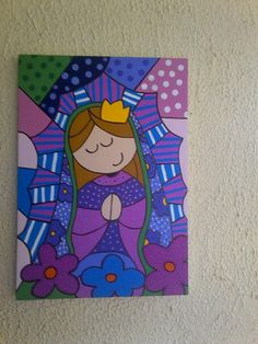 virgen de guadalupe Britto Disney, Abstract Canvas, Canvas Art, Madona, Mexican Pattern, Arte Country, Mary And Jesus, Diy And Crafts, Watercolor Paintings