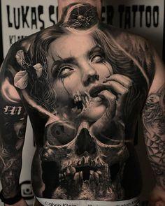 Dark Tattoos For Men, Back Tattoos For Guys, Full Back Tattoos, Sexy Tattoos, Black Tattoos, Body Art Tattoos, Lion Tattoo Sleeves, Skull Sleeve Tattoos, Best Cover Up Tattoos