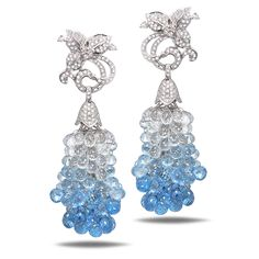 Experience Royalty in Case Reale Jewelry 18KT WHITE GOLD 2.19 TCW DIAMONDS 170.82CT WHITE SAPPHIRE BLUE TOPAZ MIXED BRIOLETTES