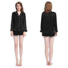 22 Momme Elegant Short Silk Pajamas Set with Trimming 5b8ec898c