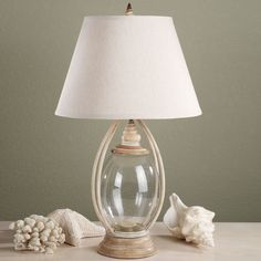 TABLE LAMP CLEAR GLASS FOR SHELLS | Sea Treasures Fillable Glass Table Lamp