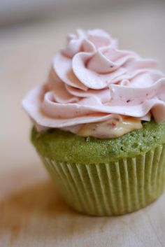 Green tea cupcakes with strawberry buttercream.  Another use for the green tea powder I have.