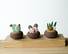 Botanical gift three Miniature figurines Exotic by LaDetallista