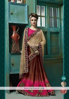 Congenial Coffee And Brown Lace Border Work Party Wear Saree