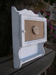 Shabby White Vintage Medicine Cabinet Storage Shelf Burlap Rosette Farm Country. $75.00, via Etsy.