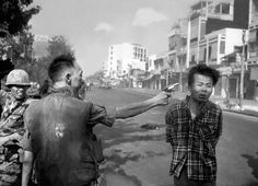 This is another image that the world remembers from the Saigon area. The police chief of South Vietnam is seen firing a pistol at the head of a man suspected of being an officer from the Viet Cong. Feb 1, 1968. The image is a fitting example of a war crime, another reminder of the unnecessary atrocities that possibly innocent civilians could suffer at the hands of police and military officials.