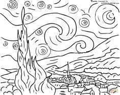 Starry Night By Vincent Van Gogh coloring page | SuperColoring.com  auction idea.  grid this into the number of children.  Show them the original then have each color a section.  Put together.  similar to what is on other pinterest pages.  but here is the line drawing to start with