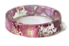 Real Dried Flower Bangle Pink Flower Bracelet by ModernFlowerChild