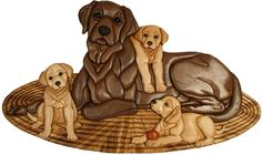Kathy Wise Intarsia, lab and pup