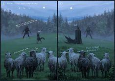 ArtStation - Shepherd and his faithful dog, Jakub Rozalski Fantasy Creatures, Mythical Creatures, Werewolf Art, Mothman, Creature Feature, Process Art, Best Artist, Amazing Art, Character Art