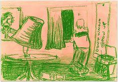 """Quarto crescente (""""growing in the room"""")   crayon on canvas"""